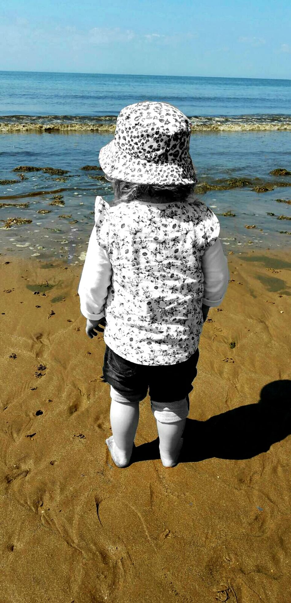 Beach Blackandwhite Contemporary Seaside Sea Looking Out To Sea. Colour Of Life Child Taking Photos Hello World Summer