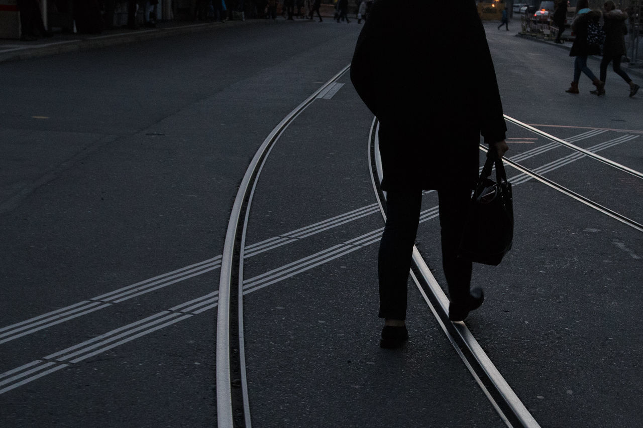 Fine Art Photography Man Step By Step Tracks, Walking Way Home Way To Go Home Work,