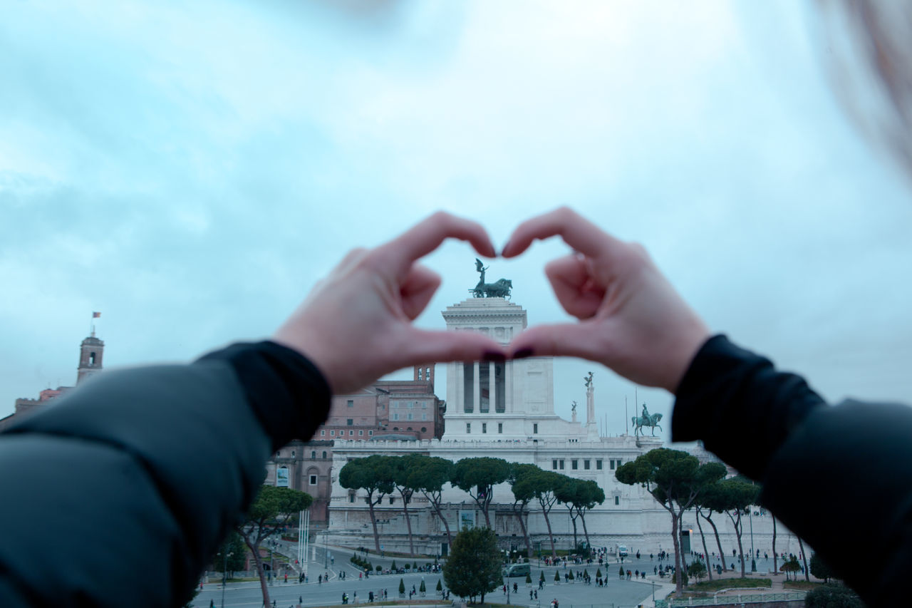 Altare Della Patria Architecture Close-up Heart Heart Shape Human Body Part Human Hand Italy Love Real People Rome Travel Destinations Travel Lover Winter Woman Be. Ready.