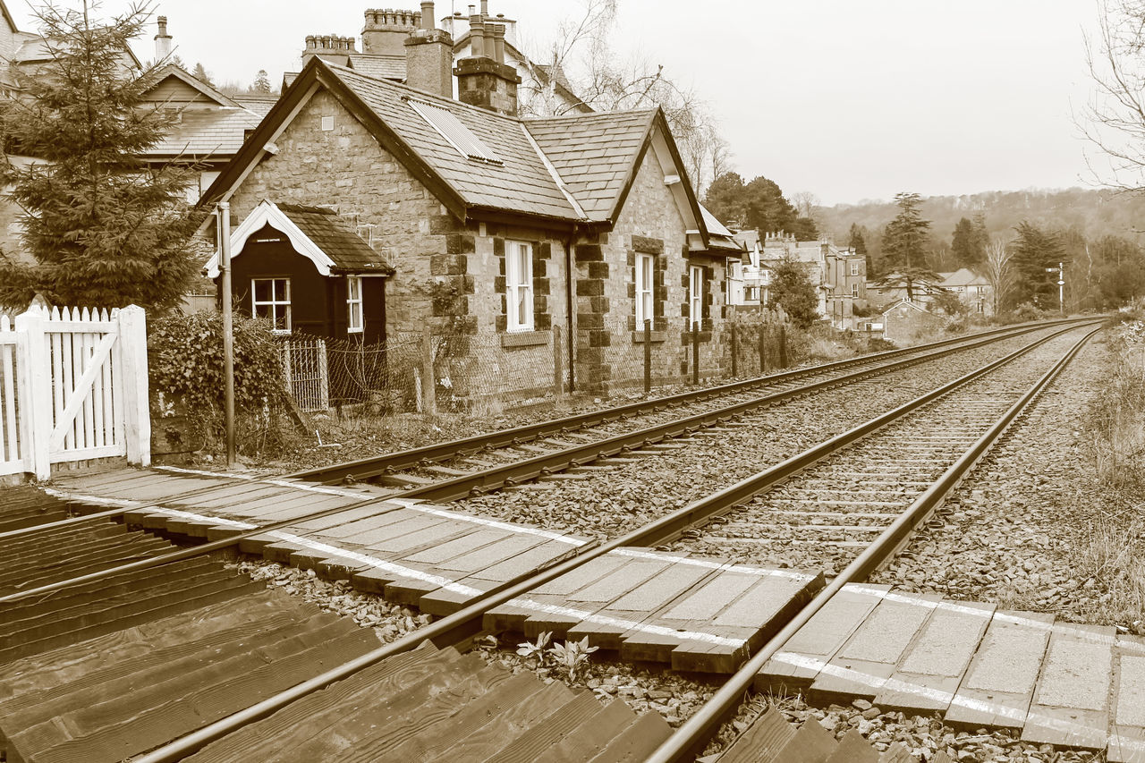 Building Exterior Diminishing Perspective Grange-over-Sands Lake District Public Transport Railroad Track Railway Crossing Railway Crossing Gates Railway Line Railway Line Crossing Railway Track The Lake District  Railway Tracks Train Tracks Train Track Train Rails Railway Sleepers Crossing The Line Tracks Track Train EyeEm Best Shots Sepia Photography Sepia_collection Sepia Railways_of_our_world