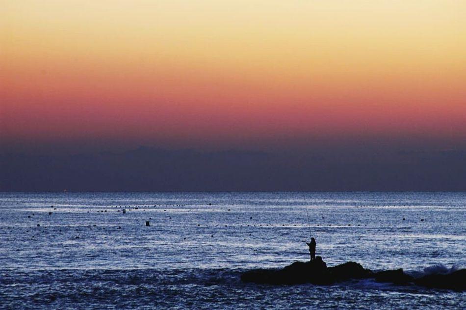 Dawn Daybreak Fishing Fisherman Angler Sea Scenery💋