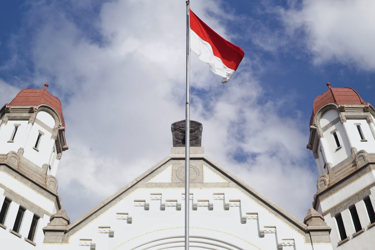 Indonesia Flag Patriotism Flag Architecture Low Angle View Built Structure