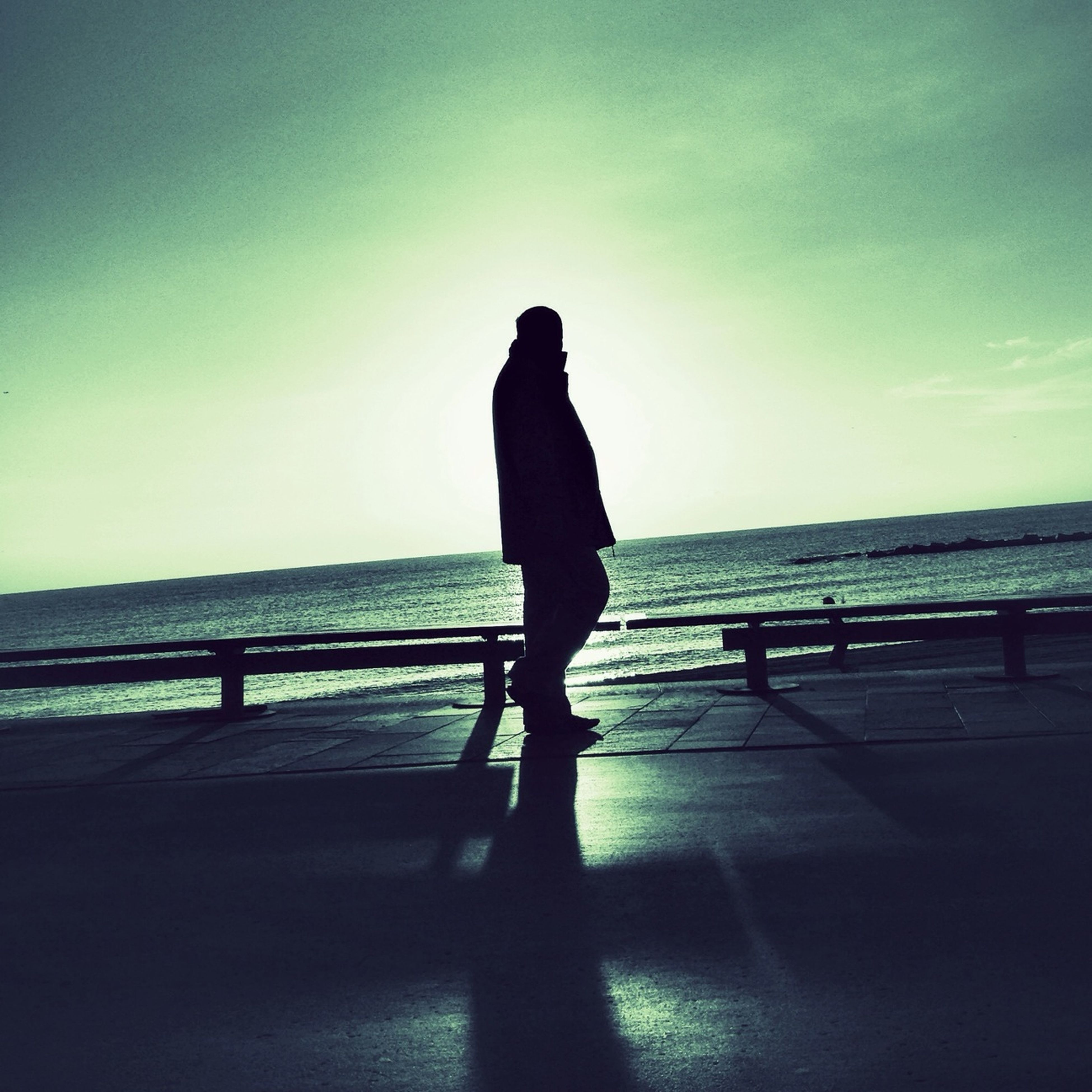 silhouette, rear view, railing, standing, full length, lifestyles, sky, men, leisure activity, sea, person, walking, sunset, sunlight, tranquility, tranquil scene, looking at view, water