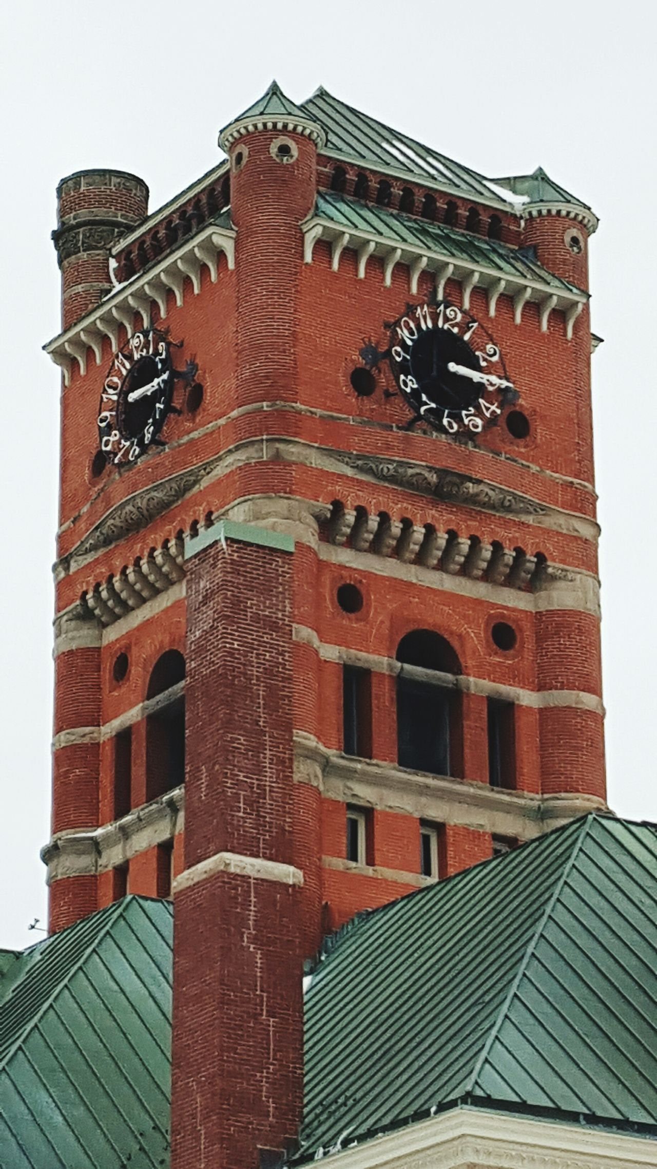 Courthouse Noble Noble County Court Clock Tower Clock Squiggly Numbers Brick Red Brick History Town Square Square Indiana Historic Architecture Metal Metal Roof Structure Metal Roof Green Travel Traveling Old Old Buildings EyeEm Best Shots Eye4photography