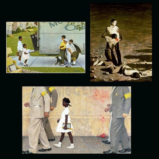 """NormanRockwell is my favorite painter/illustrator and these are some of his works that pertained to the American Civil Rights movement: """"New Kids in the Neighborhood"""" (1967), """"Murder in Mississippi - Southern Injustice"""" (1965), and """"The Problem We All Live With"""" (1964) Thesouth Integration Segregation  Race Riots CivilRights Justice SocialInjustice Politics BlackHistoryMonth AmericanHistory RubyBridges Painter Illustrator"""