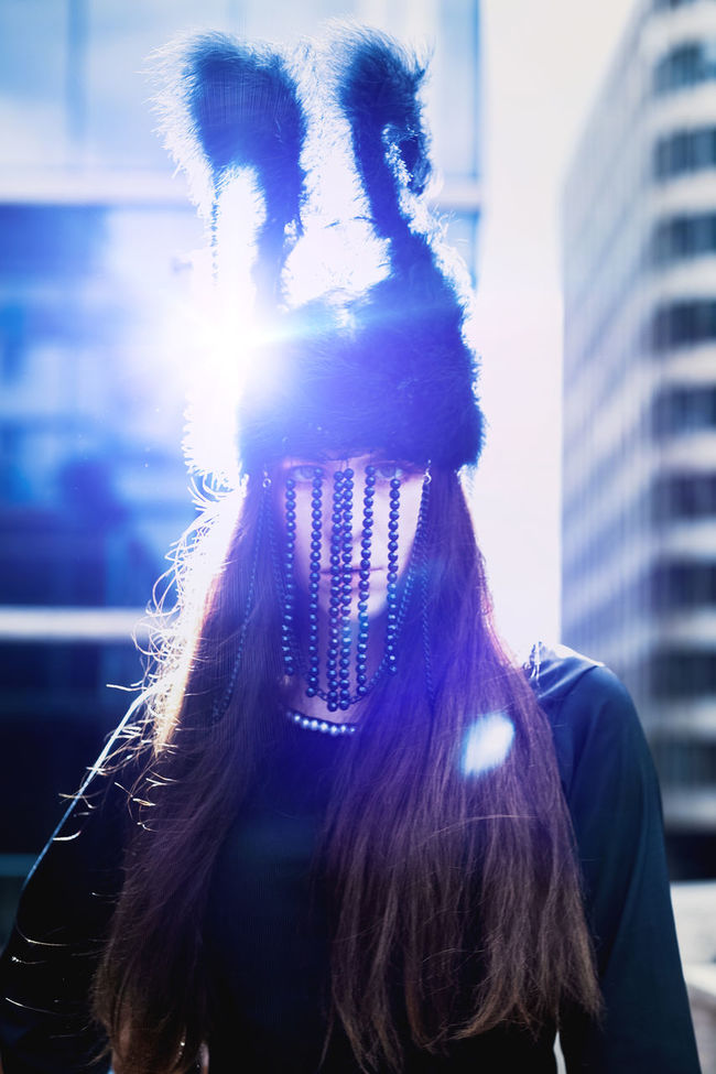 Blue Light Confidence  Day Fashion Fashion Photography Fsahion Model Hairstyle Headdress Headshot Human Face Long Hair Person Streetphotography Young Adult