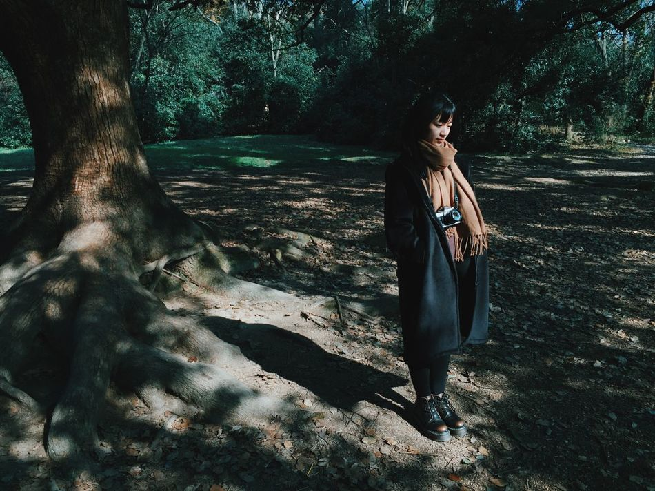 That's Me! Tree Forest Young Adult One Person The Portraitist - 2016 EyeEm Awards Portrait Portrait Of A Woman Standing Light And Shadow Outdoors
