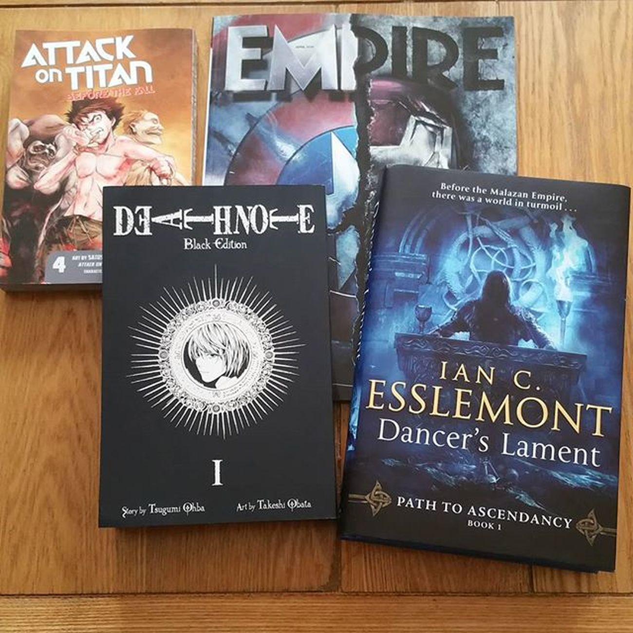 Reading time for me this weekend! Just need a few choice ales to go with it. Empiremagazine Civilwar TeamCap Esslemont Malazan Malazanbookofthefallen Dancerslament DeathNote Deathnotemangablackedition Attackontitan ShinjekinoKyojin Beforethefall Books Booklover Manga Fantasybook Pathtoascendancy Stevenerikson Tmbotf Bookstagram Bookworm Ig_books Ig_manga Captainamericacivilwar Geek geekout dancerslamentassassins