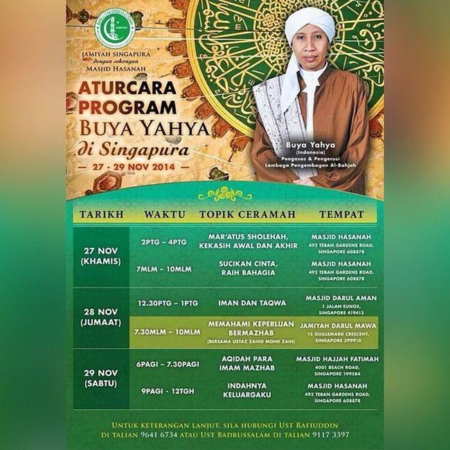 Ust Buya Yahya Zainul Maarif (yang lebih dikenali Buya Yahya) akan ke Kota Singa Letsgo Mustgo