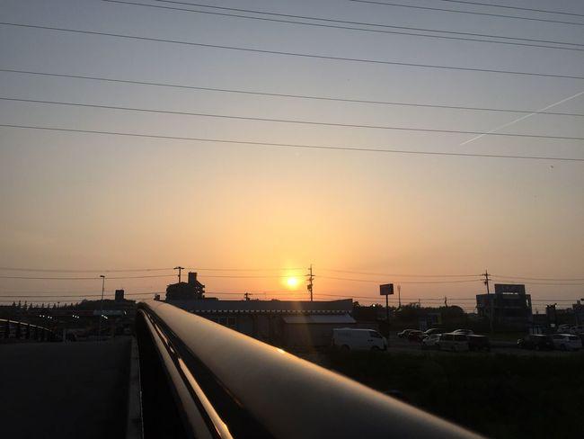 橋と夕陽 橋 Bridge 夕陽 Sunset 空 Sky 電線 Electric Wires