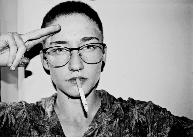 Eyeglasses  Black And White Portrait Lesbiangirl Shorthair Androgynymodel Androgynous Female