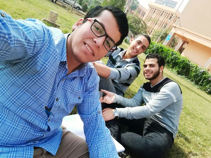 Enjoy The New Normal Togetherness Lifestyles Men Bonding Young Adult Real People Happiness Smiling People Adults Only Day Studying Study Study Time University Life Egypt Good Times Mobile Photography Selfie ✌