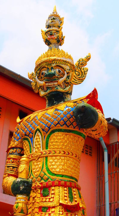 Architecture Art Art And Craft Creativity Gold Colored Human Representation Low Angle View Place Of Worship Ravana Religion Sculpture Spirituality Statue Temple Temple - Building