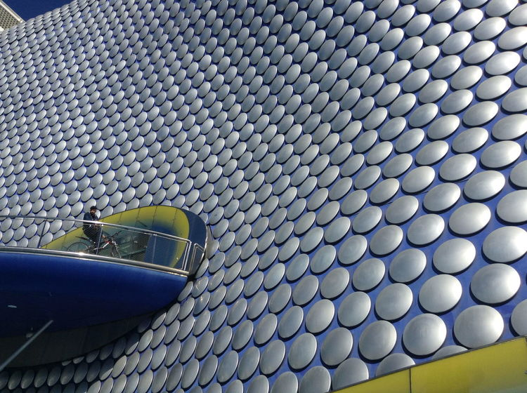 Architecture Blue And Yellow Bmx  Outside Selfridgesbirmingham Shopping Center Silver  Silver And Blue