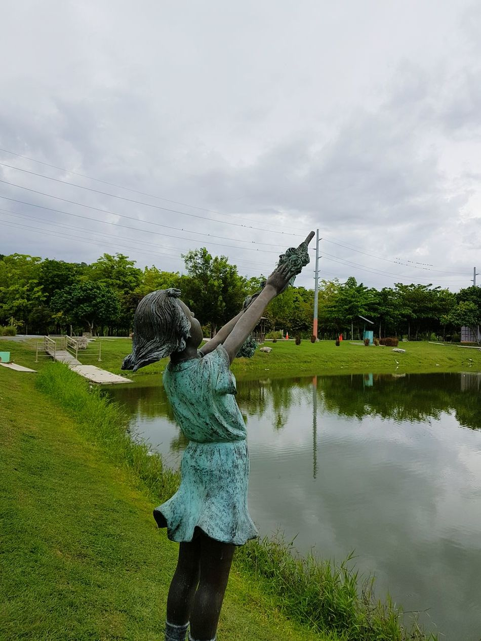 Standing Statue Green Color Nature Cloud - Sky