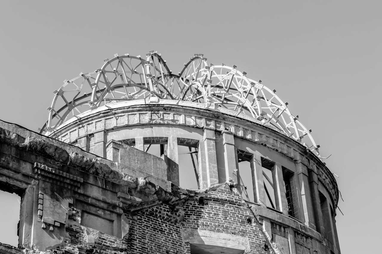 Architecture Architecture Black And White Building Building Exterior Built Structure Clear Sky Crime Scene Day Disaster Dome Famous Place History Japan Low Angle View Monochorme Monument No People Nuclear Blast Outdoors Ruined Sad Sky Travel Destinations The Architect - 2017 EyeEm Awards
