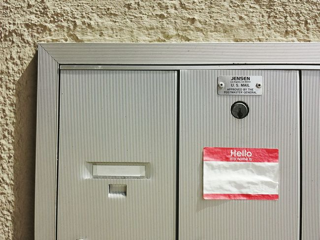 Hello My Name Is Sticker Mailboxes Texture San Francisco