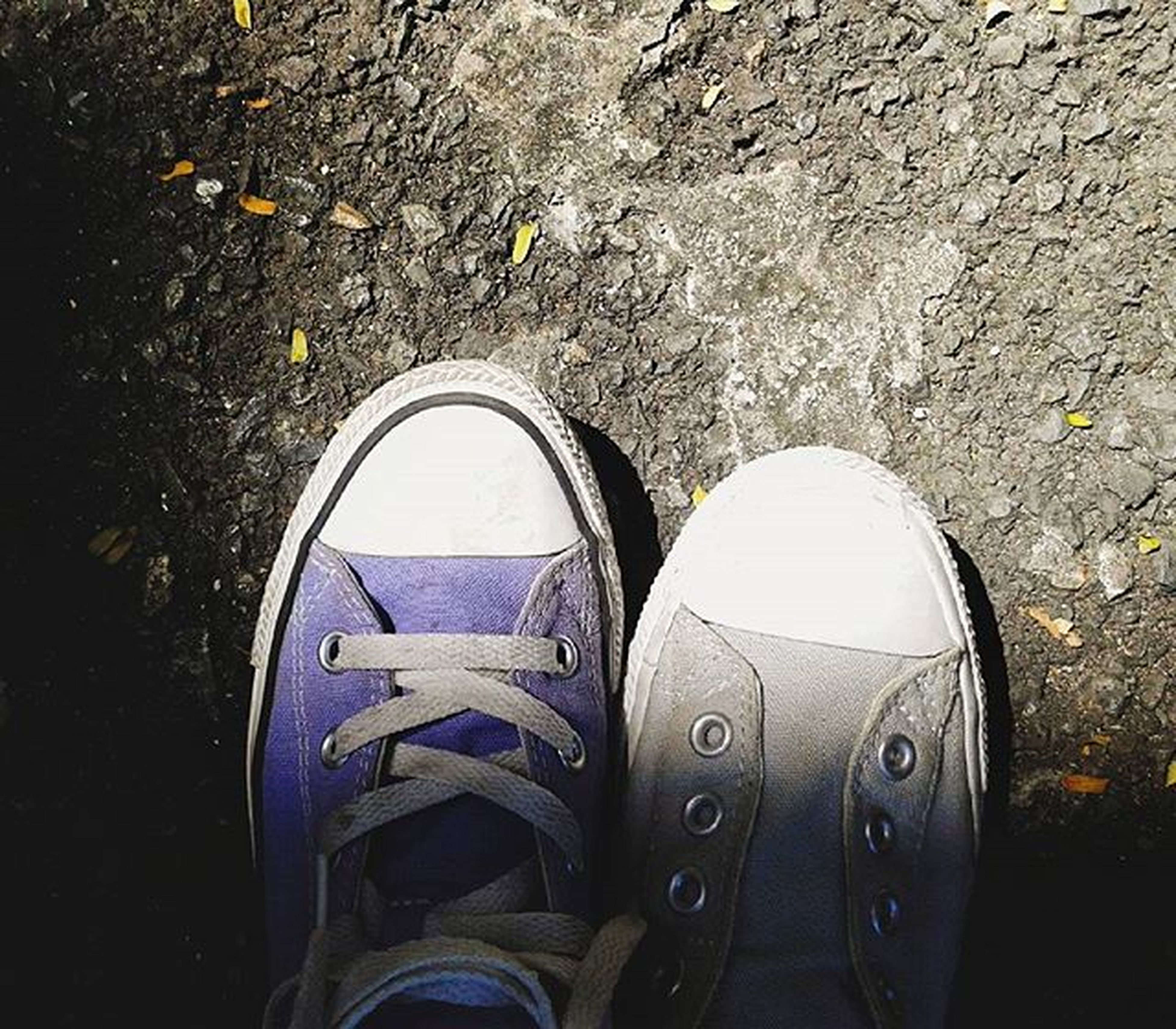 shoe, transportation, high angle view, street, low section, day, outdoors, mode of transport, footwear, close-up, part of, pair, personal perspective, land vehicle, no people, abandoned, directly above, sunlight, field, still life