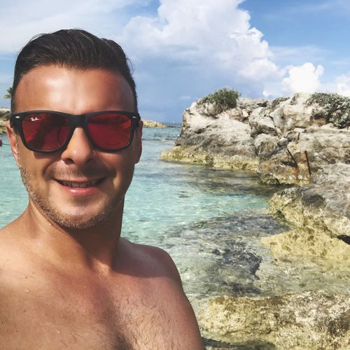 Young Adult One Person Sunglasses Sea Portrait Water Shirtless Looking At Camera Sky Nature Real People Young Men Lifestyles Outdoors Day Smiling Beauty In Nature Mexico Playadelcarmen
