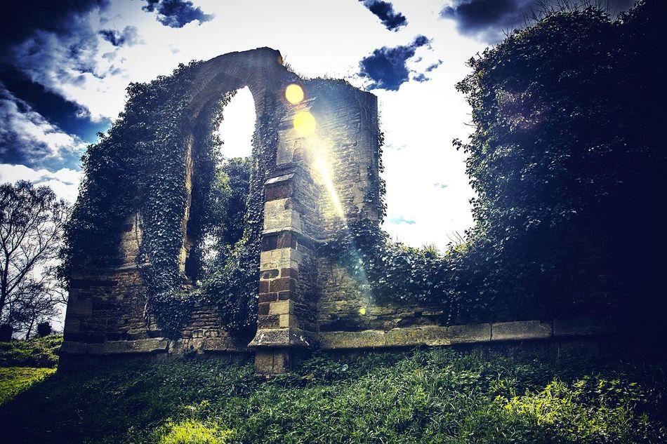Ruins of St John's Church, Boughton, Northamptonshire ArchitectureRuins Church Boughton Northamptonshire Church Ruin Sun Rayoflight Sunbeam Blue Sky