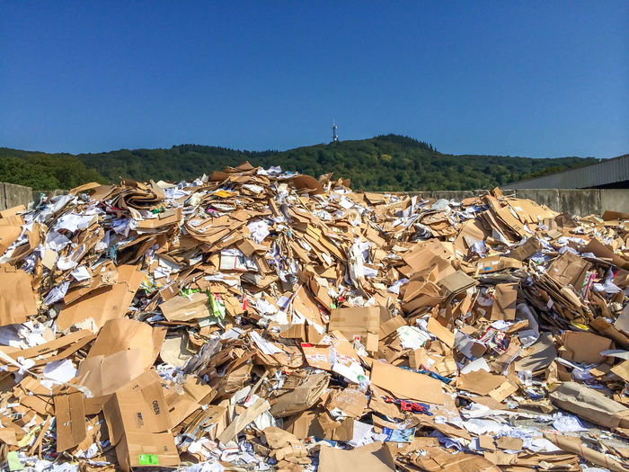 Paper waste Wastepaper Enviornmental Environment Garbage Station Germany No People Nobody Nobody Around Paper Paper Recycling Recycle Recycling Scrap Waste