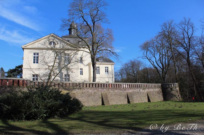 Eller Schlosspark Tree Architecture Built Structure Building Exterior Bare Tree Day Religion Spirituality Outdoors Grass Blue Branch Clear Sky No People Place Of Worship Sky Nature