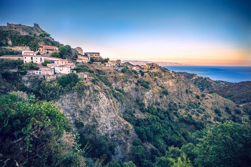 EyeEm Selects Evening Sunset Savoca Travel Destinations Sky Clear Sky Outdoors Nature Italy Sicilia Sicily landscape Sunny Day sea valley Rocks Godfather Connected By Travel