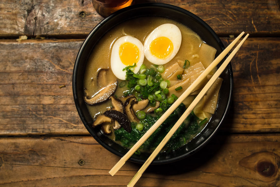 Ramen Bowl Close-up Elevated View Food Meal Ramen Ready-to-eat Still Life Wood - Material