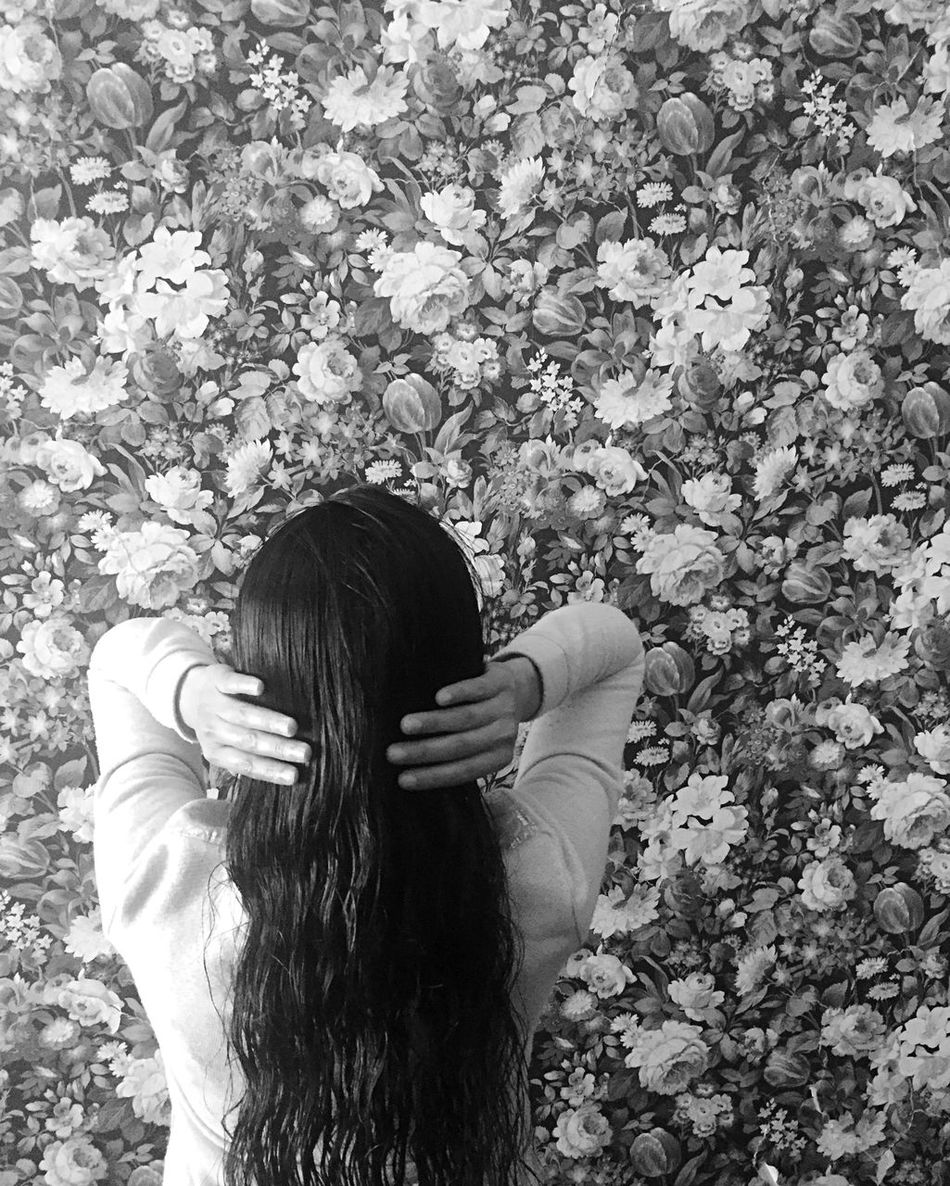 My sister-in-law posing in front of this dynamic wallpaper. Abstract Abstract Pattern Abstract Photography Black And White Black And White Photography Black Hair Design Floral Pattern Girl Indoor Photography Indoors  Long Hair One Person One Woman Only Pattern, Texture, Shape And Form Tranquil Wallpaper Woman Woman Portrait Womanity  Women