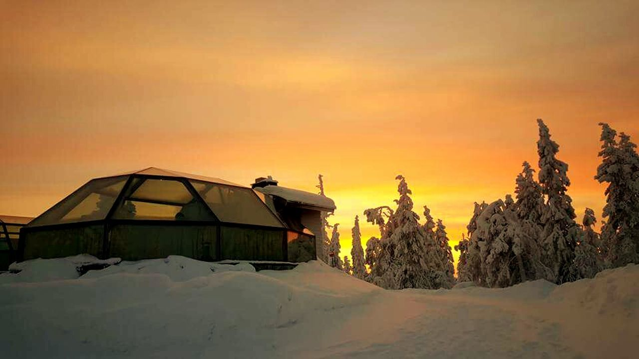 sunset, snow, winter, nature, cold temperature, tranquility, beauty in nature, scenics, no people, tranquil scene, outdoors, sky, built structure, landscape, mountain, tree, tent, architecture, building exterior, day