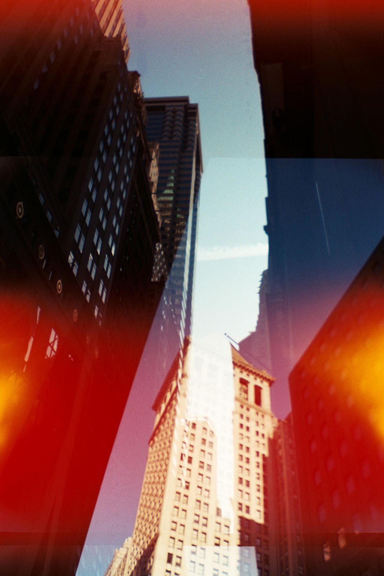 Financial District  Building Exterior Imperfectly Perfect Film Photography Multiple Exposures Unedited Wall Street  No People Shadow & Light Analogue Photography Architecture_collection Light Leak Illusion Of A Fixed Reality