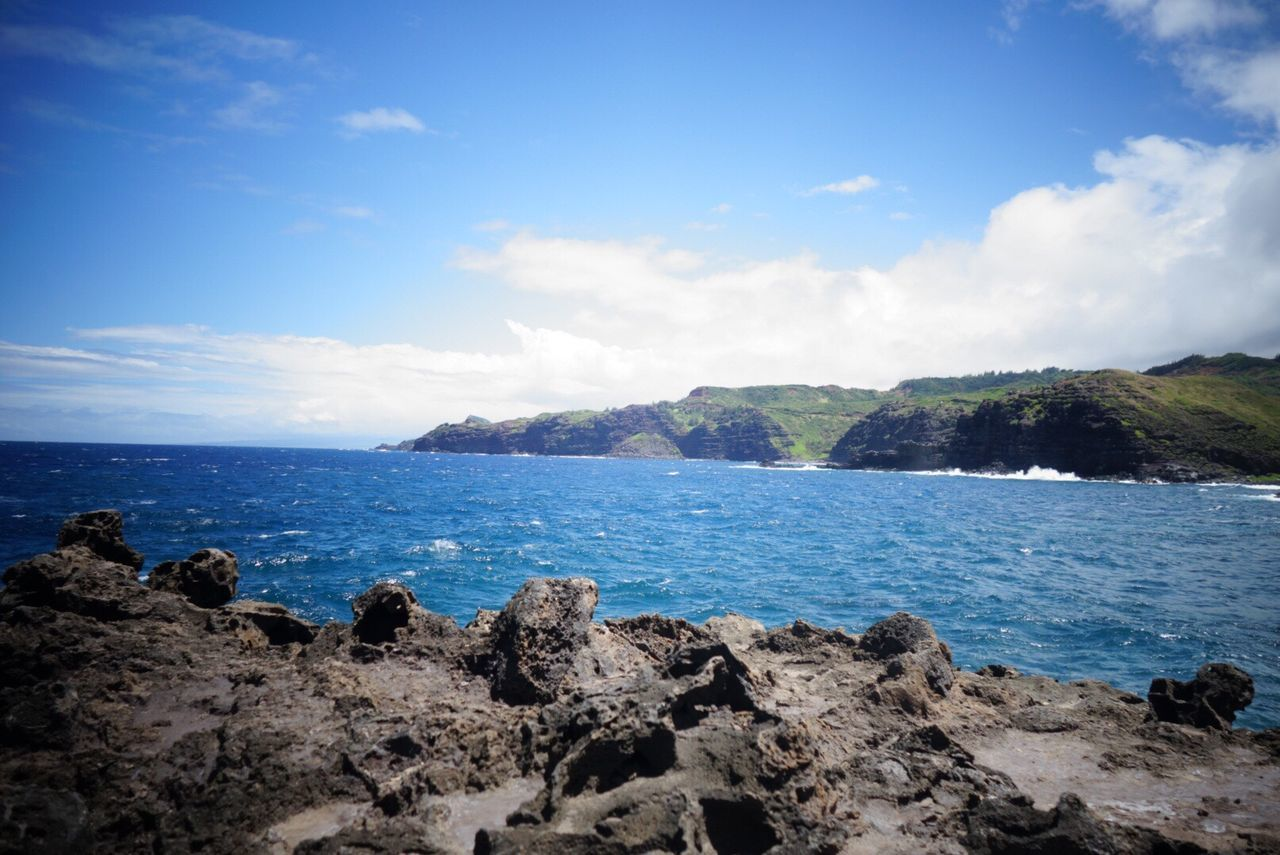 Beauty In Nature Nature Tranquility Sky Water Rock - Object Outdoors No People Cloud - Sky Blue Horizon Over Water Mauiphotography Maui Sea Scenics Tranquil Scene Day