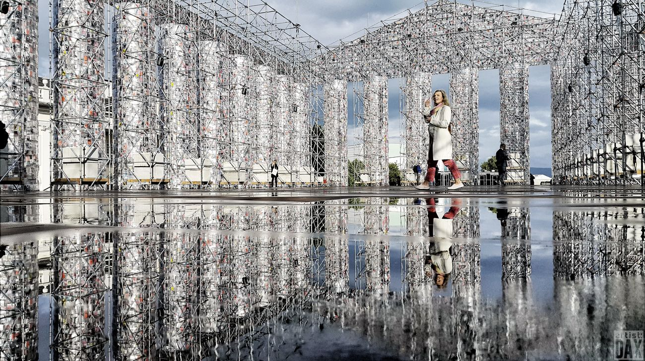 Walking in art -Parthenon of books- by Marta Minujins documenta 14 10.06. - 17.09.2017 artist:DAX PHOTOGRAPHOHOLIC I born to capture | Reflection Outdoors Day Sky Water Nature Modern Architecture Travel Destinations Architectural Detail EyeEm Best Shots - Architecture Building Exterior EyeEm Gallery Germany 🇩🇪 Deutschland Streetview The Architect - 2017 EyeEm Awards ArtistDAX City Documenta14 Parthenon Of Books Kassel Friedrichsplatz Smartshots Mobilephotography