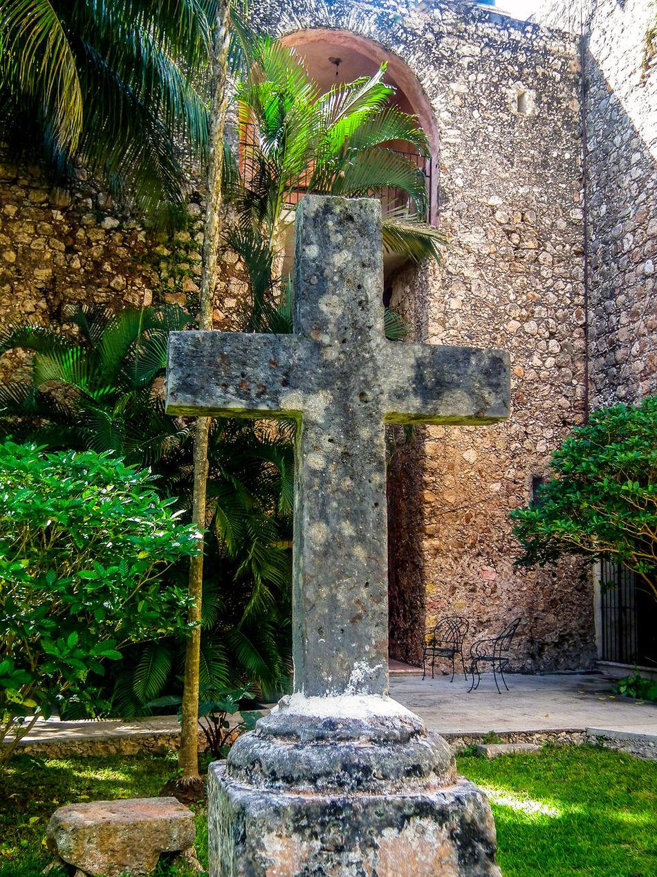 Monastery of Saint Bernardino of Siena Architecture Christian Church Convent Cross Day Garden History Lawn Mexico Monastery Religion Sisal Stone - Material Stone Cross Stone Material Valladolid Yucatan Peninsula Yúcatan