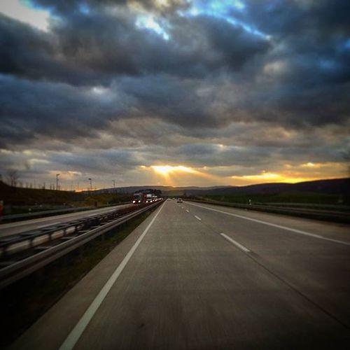 Autobahn Highway Clouds Cloud Heaven Sky Sun Sunset Sungoesdown Road Roadtrip Amazing Landscape Landschaft Photoarena_sunset Driving Drive Drivinghome