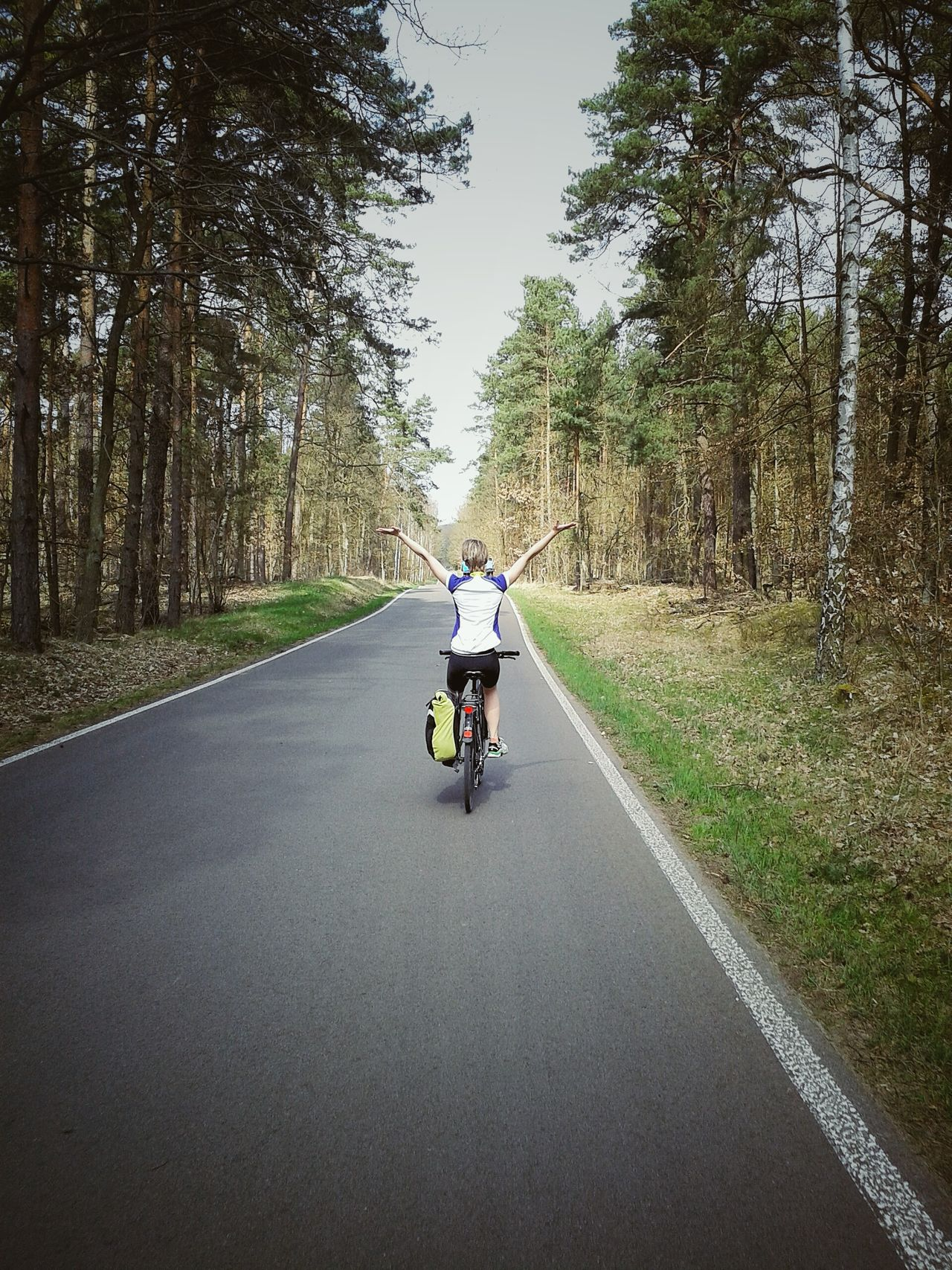 Wonderful bike ride with a friend of mine. Celebrate Your Ride Bike Street Enjoying Life Trees Nature Exploring Bike Ride Biketour Woman Sport Time Sport Cycling Speed Hill Eye4photography  EyeEm Nature Lover Brandenburg Happiness Waving Springtime Spring Wood Woods Forest