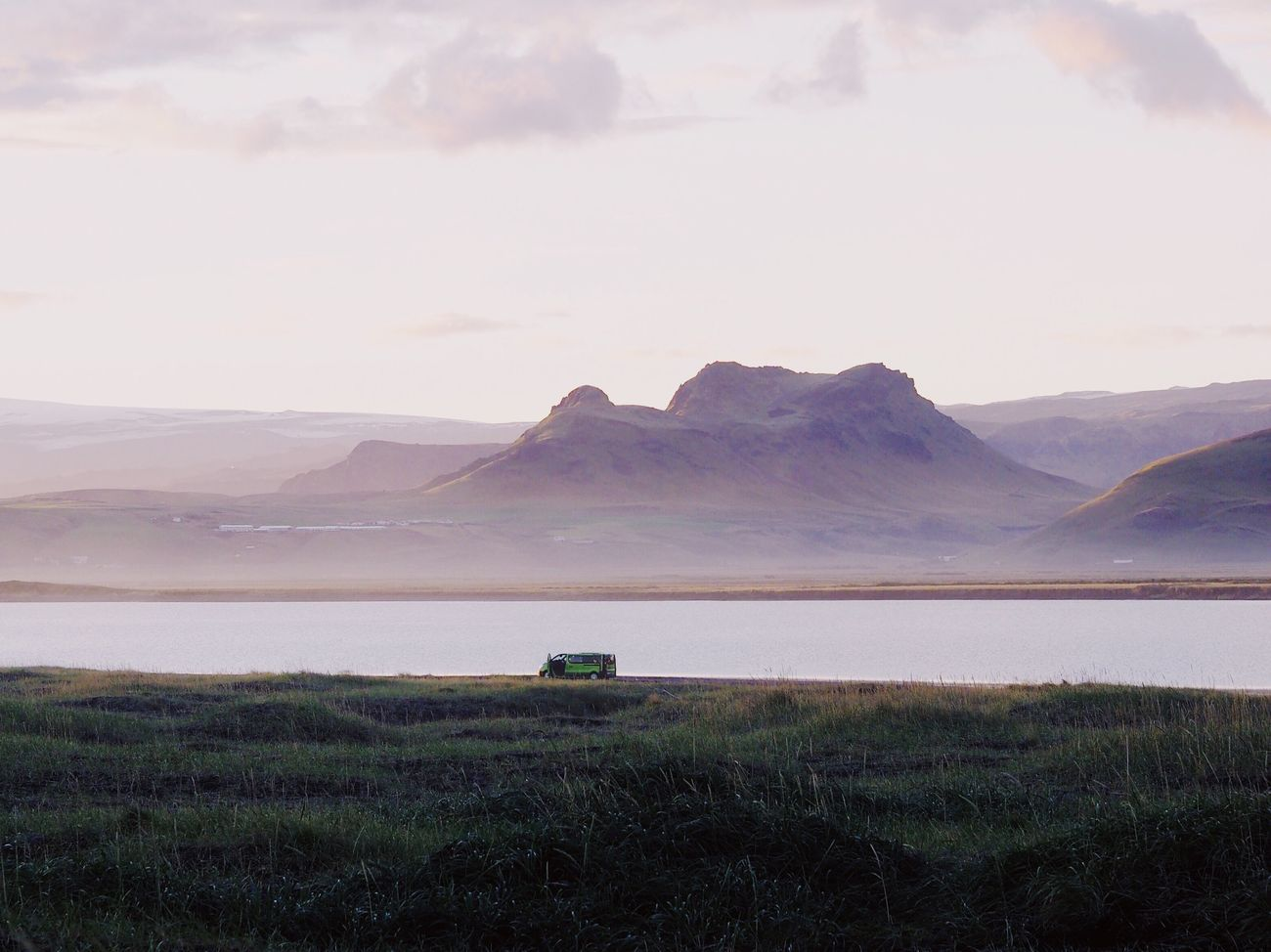 Landscape Scenics Nature Mountain Beauty In Nature Outdoors Tranquil Scene Day Van Car Traveling Home For The Holidays in Iceland