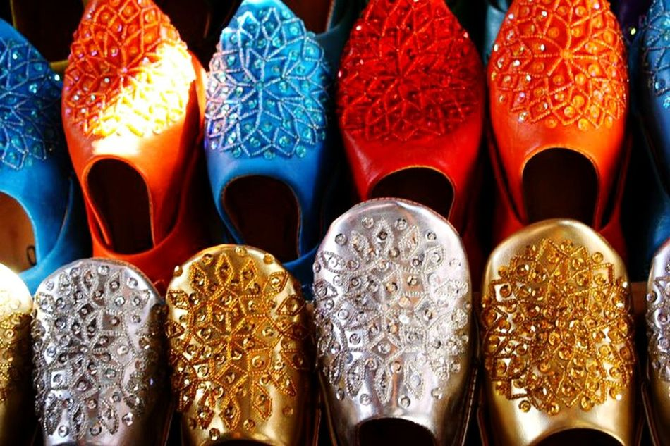 Shoes Zoco. Marrakech Choice For Sale No People Market Morroco Tourism