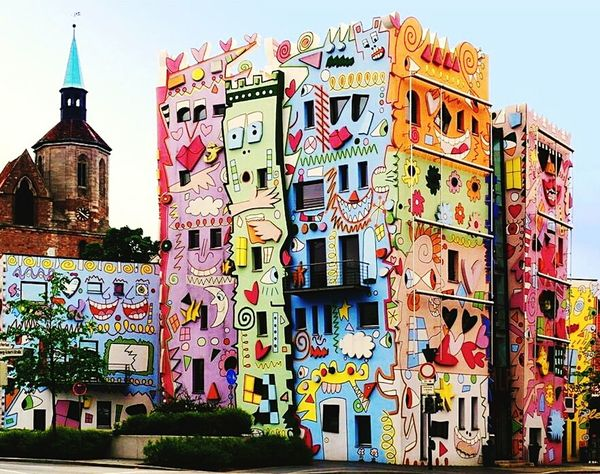 Old vs. New James Rizzi Colorful Crazy Church Steeple Medieval Architecture Contrast Brunswick Braunschweig