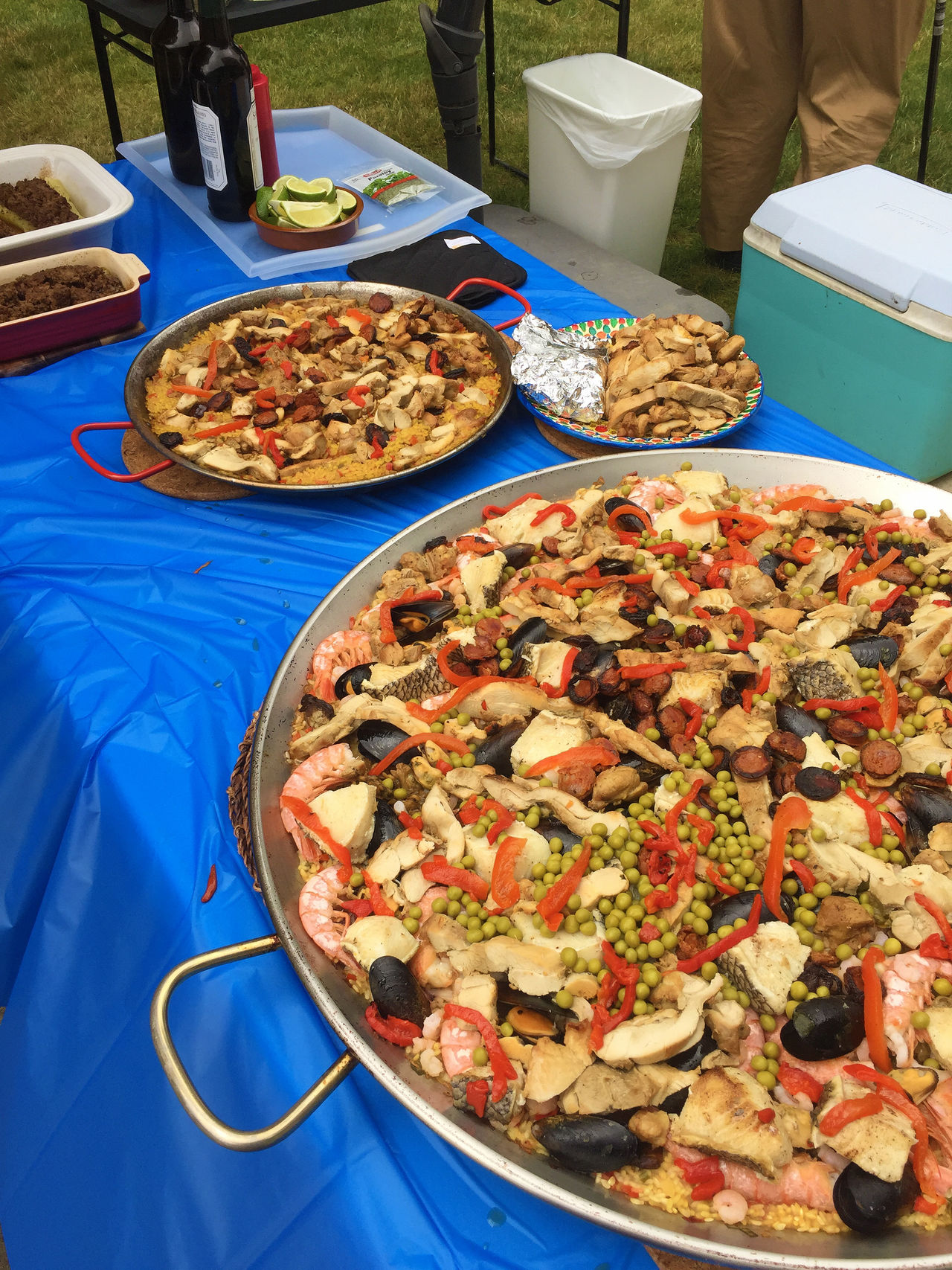 Paella for 100 people Day Food Food And Drink Freshness Healthy Eating High Angle View No People Paella Paella De Marisco Paella Pan Seafood Serving Size Spanish Table
