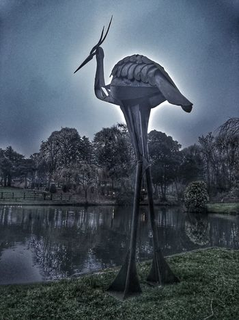 Animal Themes Bird Water Sky Man Made Object Sculpture Mastery Welding Work Statue Heron Bird Sculpture Iron - Metal At The Waters' Edge Outdoors No People Hdr_Collection HDR Collection Hdr Edit Hdrphotography Hdr_lovers Hdr_gallery Hdr_pics Hdroftheday Break The Mold Cut And Paste