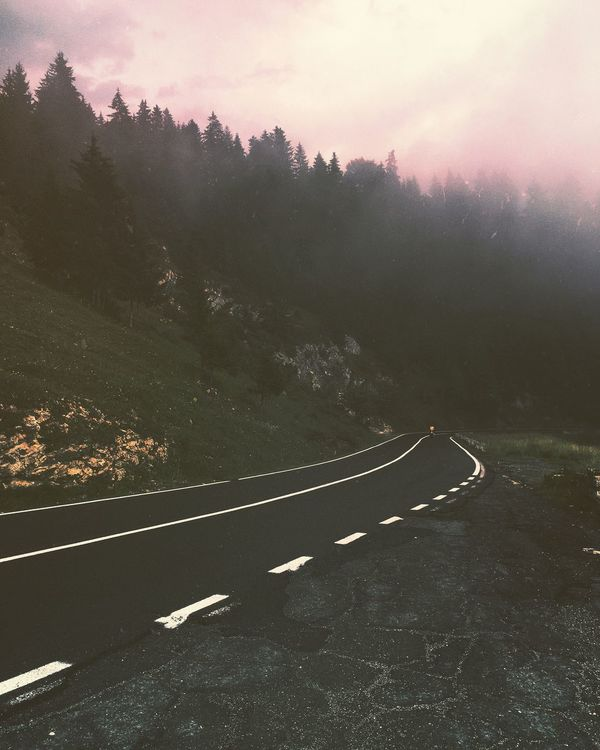 Transportation Road Tree No People Outdoors Beauty In Nature Nature Day Mountain Scenics Fog Sky