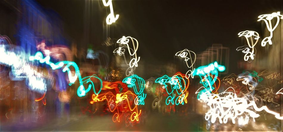 Blues Green Illuminated Multi Colored Night No People Slowspeed Squiggles