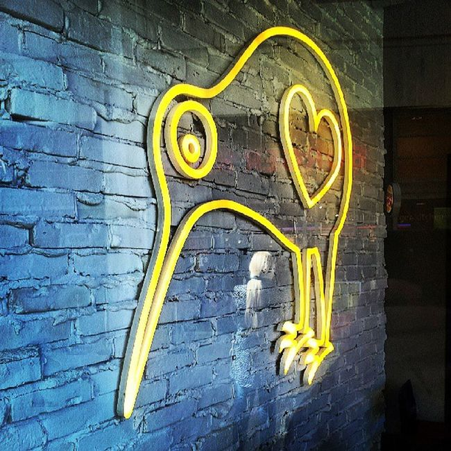 Curlew Curlews Heart Neon neoncurlew wall brick paintedbrick paintedbricks paintedbrickwall paintedbrickwalls