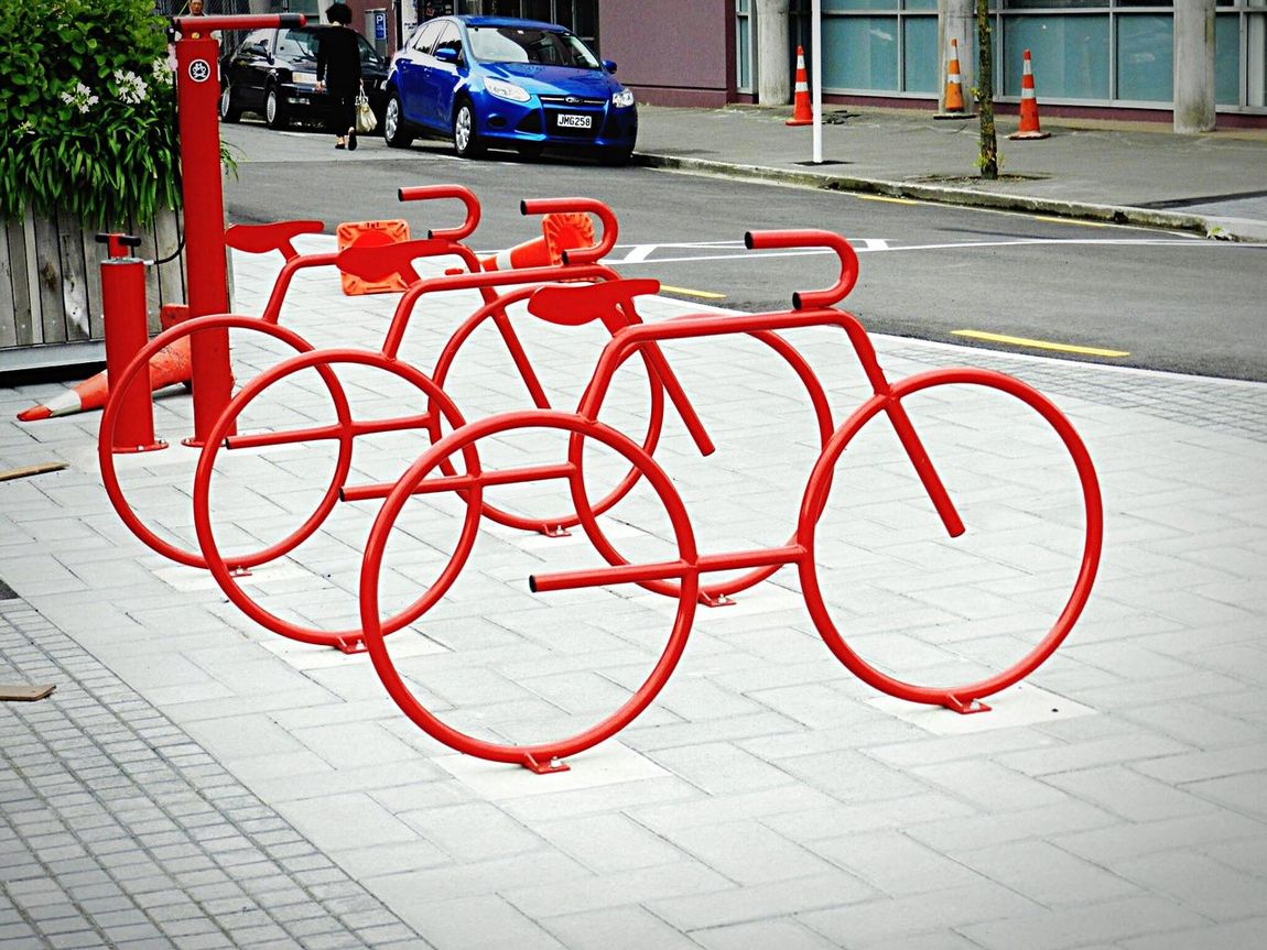 City Transportation Mode Of Transport City Life Outdoors No People Day Red Red Bikes Art ArtWork Creative Creativity