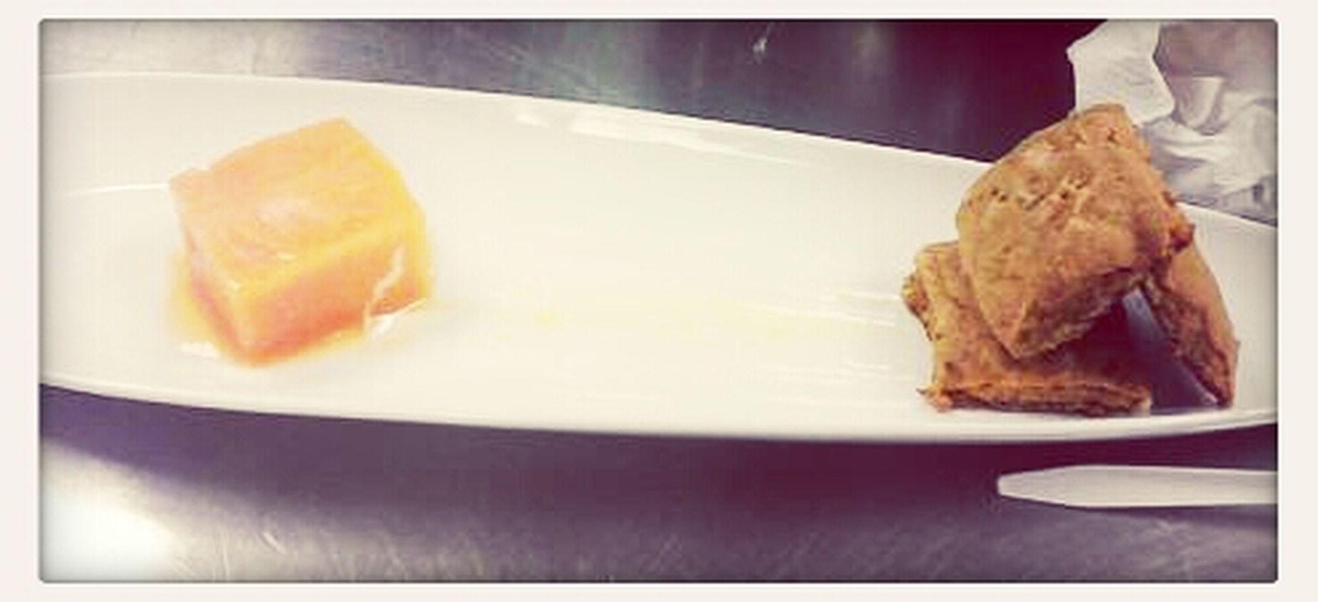 papaya sorbet and papaya cookie with orange zest glace