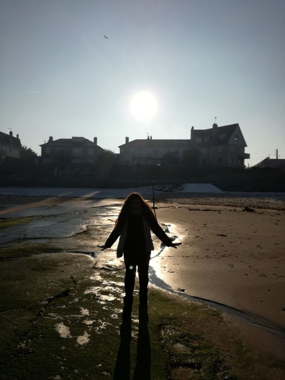 One Person Beach Silhouette Outdoors Sky Sea View Winter Normandie Cousintime