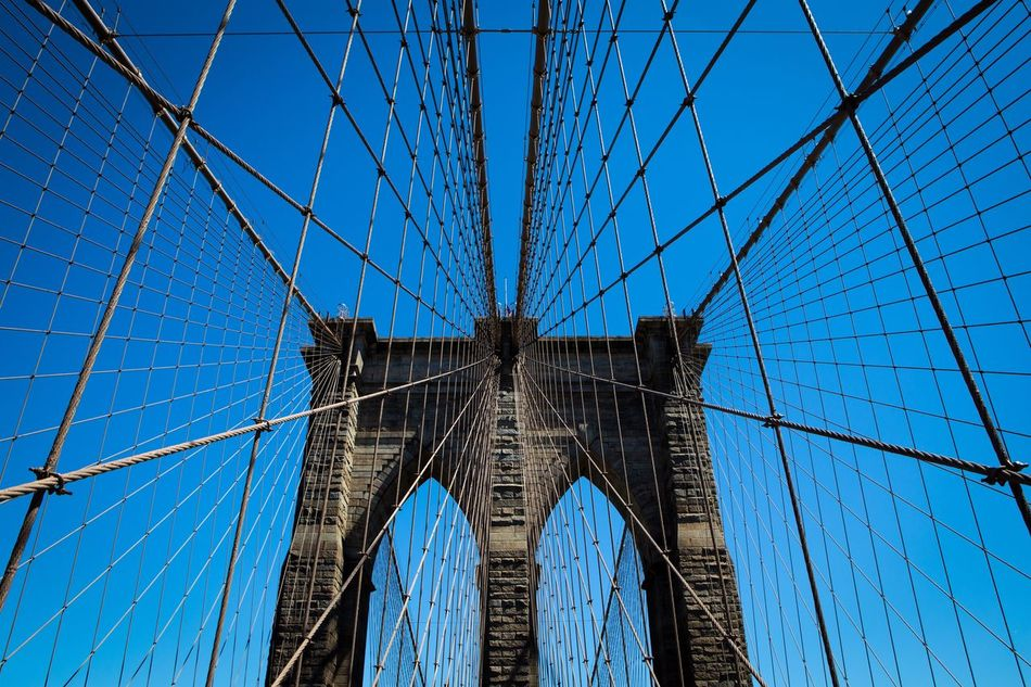 Connection Suspension Bridge Architecture Built Structure Engineering Travel Sky Low Angle View Travel Destinations No People New York Brooklyn EyeEmBestPics Lines EyeEm Gallery Getting Inspired EyeEm Canon Eye4photography  Blue Blue Sky Springtime Tourism Outdoors Bridge - Man Made Structure