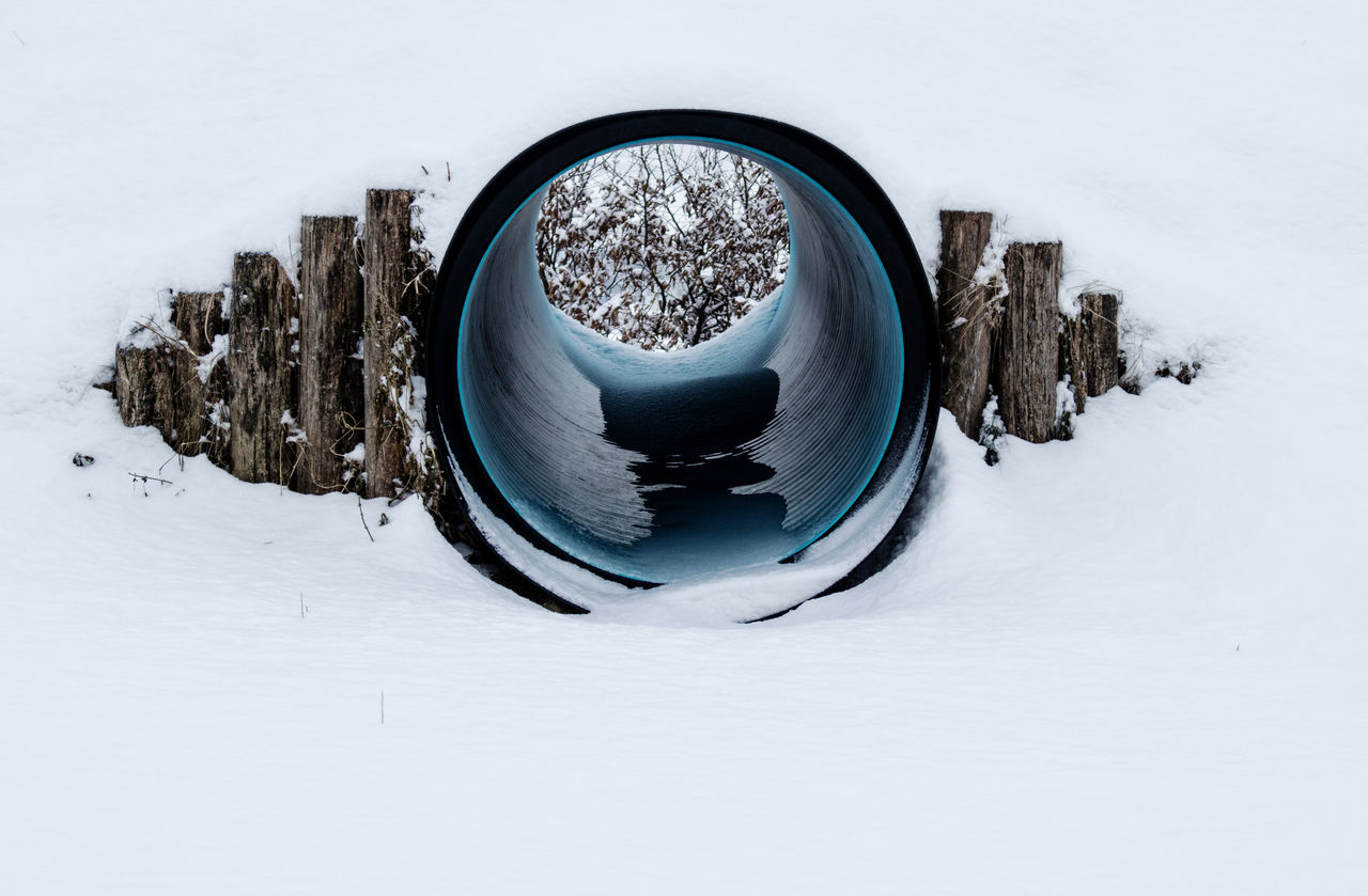 Close-Up Of Pipe In Snow Covered Field