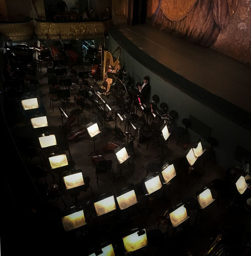 Interval Classical Music Dark Mariinksy Theatre St Petersburg Russia Concert Concert Hall  Harp Indoors  Orchestra Orchestra Pit